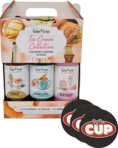 Jordan's Skinny Syrups Sugar Free Ice Cream Collection Trio Gift Box 12.7 Ounce Bottles with By The Cup Coasters ()