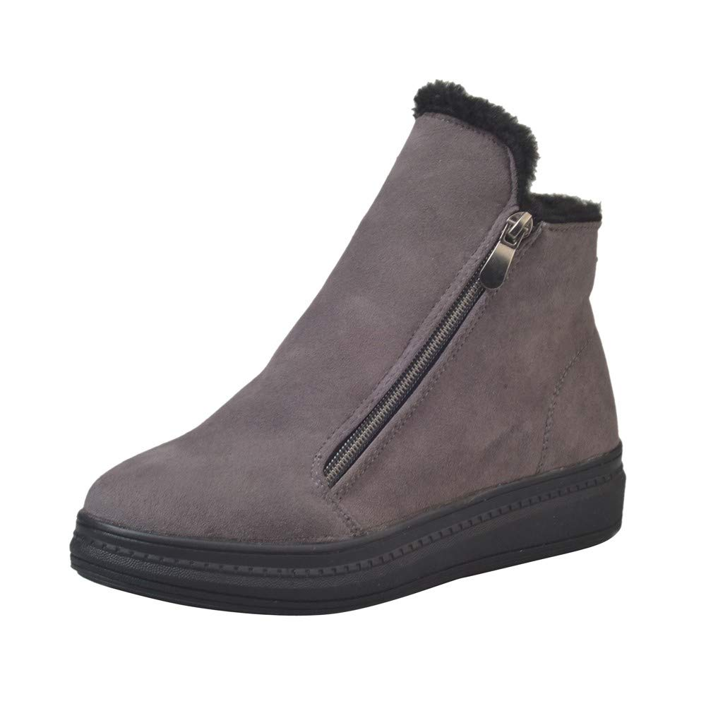 ZODOF Botas de Nieve para Mujer Botas Flockr para Mujer Tacones Bajos Botas para la Nieve de Invierno Botines para Mujer Zapatos