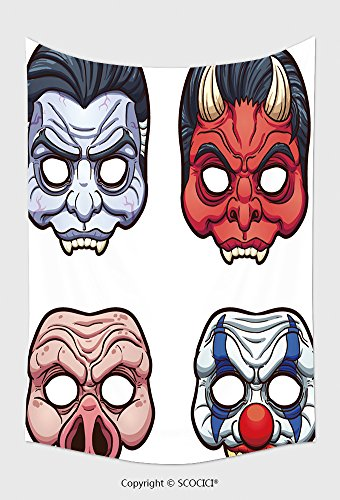 Home Decor Tapestry Wall Hanging Halloween Masks Vector Clip Art Illustration With Simple Gradients Each On A Separate Layer 315309629 for Bedroom Living Room Dorm (Halloween Number Clip Art)