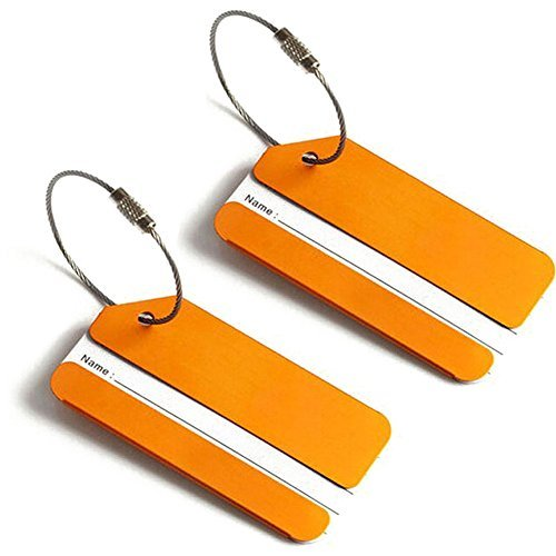 Steel Stainless Luggage Tags (2x Luggage Tags, Aluminum Metal Travel Suitcase Identifier Tag Labels Bag ID Name Address Label with Screw Chain, Gold)