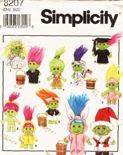 Simplicity Pattern 8207 Clothes for 6-Inch Dolls Such As Elf, Munchkin and Gnome - Elf Pattern Doll