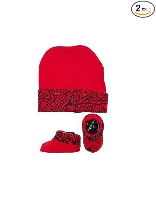 Amazon.com  Nike Air Jordan Elephant Print Hat   Booties Set 0-6 ... 16185db94f3