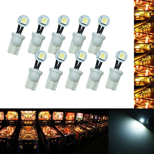 PA 10PCS #555 T10 1SMD Fold LED Wedge Pinball Machine Light Side View Bulb White-6.3V by PA