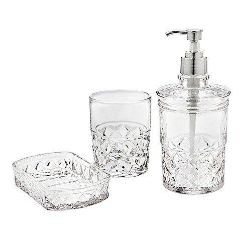 Godinger® Allegro 3-Piece Clear Vanity Set (Beaded Vanity Set)