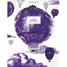 Dot Grid Journal - Purple Watercolor Hot Air Balloons: Dotted Notebook (Large Journals To Write In)