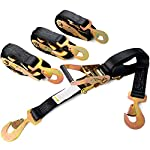 "2"" x 8ft Ratchet Tie-Down Straps with Snap Hooks 2,000 lbs Working Load Limit - Extra Heavy Duty Ratcheting Tie-Downs for Towing, Race Car Hauling, Tow Trucks, or Wreckers"