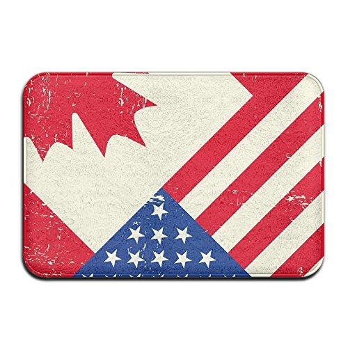 Vintage Canadian American Flag Indoor/Outdoor/Bathroom Mats 24x16 Inch