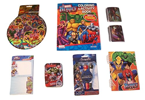 Marvel Heroes Activity Gift Set ~ Good Triumphs (Coloring Book with Stickers, Hologram Stickers, Notebooks, Sticky Notes, Puzzle in a Tin, Roller Stamper Marker; 7 Items, 1 Bundle)