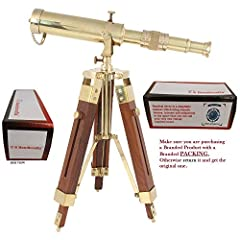 "This is a reproduction in brass of a portable maritime telescope. Quality optics create a magnification of 20x. The objective lens is protected by a press fit cap. The height may be adjusted to 18"" by fully extending the tripod legs. Ideal fo..."
