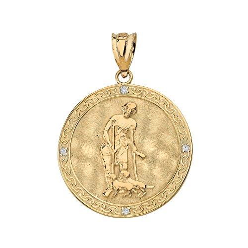 (14k Yellow Gold Saint Lazarus Pray For Us Medallion Diamond Pendant (1