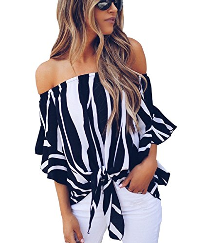 Womens Sexy Open Shoulder Striped Blouse Short Sleeve Tops Tee Shirts Black - Sexy Sweet Top Blouse