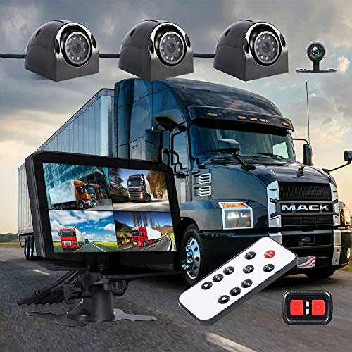 VSYSTO Dash cam & Backup Camera Front/Rear/Sides 4 Channels Waterproof Lens for Truck/Trailer/Tractor DVR Camera Recording System with Dual Waterproof Infrared Night Vision Lens, 7.0'' Monitor