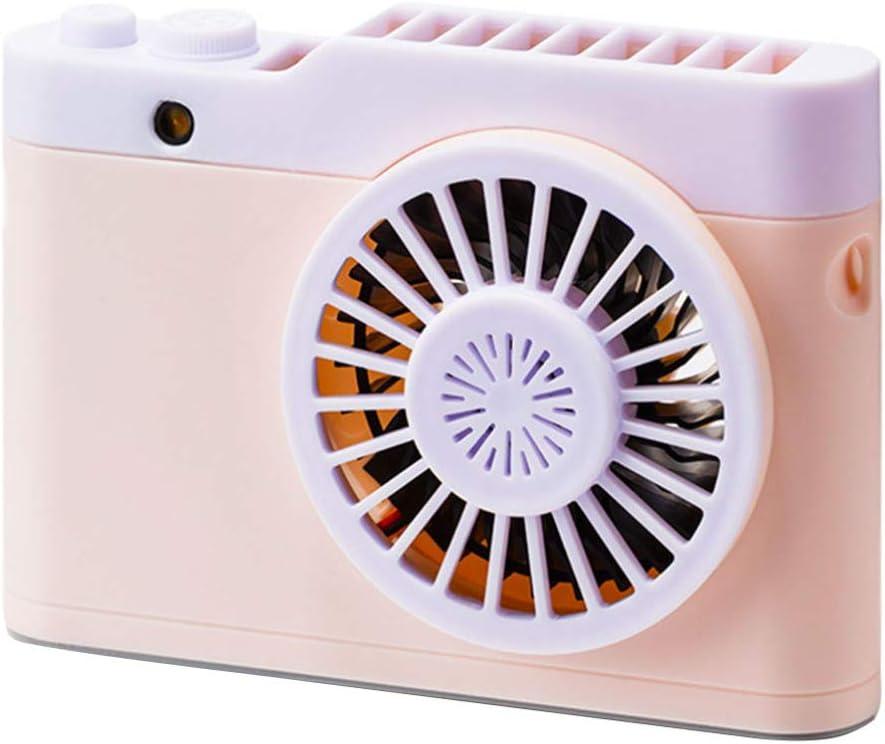 BESPORTBLE Mini Ventilador Ventilador en Forma de Cuello con Cámara Ventilador Recargable Ventilador de Aromaterapia Novedad Rosa