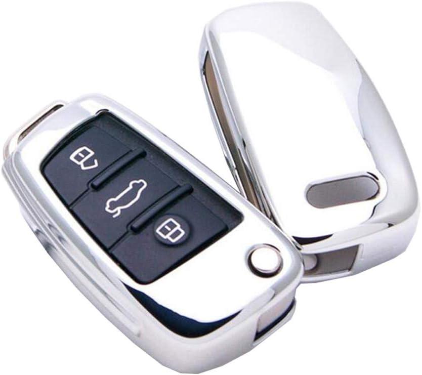 Happyit TPU Car Key Cover Case for Audi Sline A3 A5 Q3 Q5 A6 C5 C6 A4 B6 B7 B8 TT 80 S6 with Keychain Silver