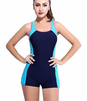 Arcweg Badeanzug Damen Schwimmanzug mit Bein Einteiler Bademode  Kreuzgurt-Design Brustpolster Abnehmbar Blau und Pink 559cc4fdf9