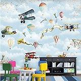 BZDHWWH Wallpaper Custom Mural Wallpaper Hand-Painted Children'S Bedroom Cartoon Hot Air Balloon Background Wall,50Cm (H) X 70Cm (W)
