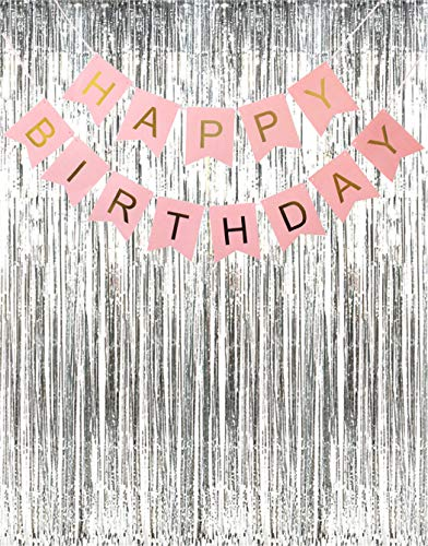 (MT 2 Pack Metallic Tinsel Foil Fringe Curtains with Happy Birthday Banner for Birthday Party Reunion Photo Backdrop)