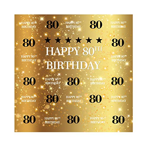 AOFOTO 6x6ft Happy 80th Birthday Backdrop Golden Background Grandfather Grandparents 80 Years Old Grandpa Grandma's Eightieth Bday Party Decorations Photo Studio Prop -
