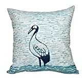 E by design O5PAN458BL12-20 20 x 20'' Bird Watch Animal Print Green Outdoor Pillow