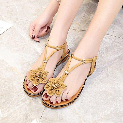 Amazing Zapatos planos de moda de las sandalias bohemias de verano Zapatos simples de las mujeres de la playa ( Color : B , Tamaño : EU37/UK4.5-5/CN37 ) A