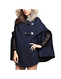 DJT Women's Princess Style Poncho loose Hood Cape Wool Cloak Coat