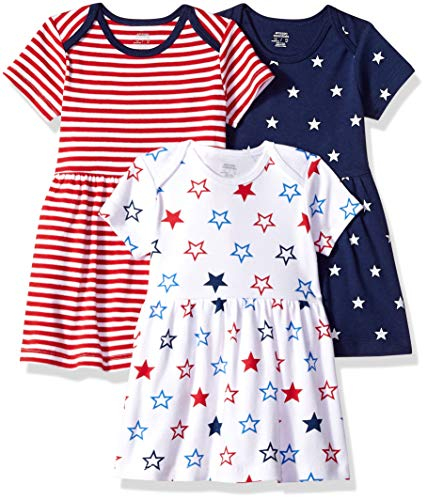 - Amazon Essentials Baby Girls 3-Pack Dress, Americana, 6-9M