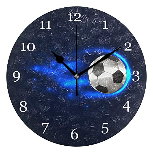 - KUWT Sport Soccer Ball Wall Clock Silent Non-Ticking 9.5 Inch Round Clock Acrylic Art Painting Home Office School Decor
