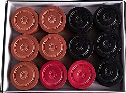 Carrom Board Wood Coins 24-Coins 1-Striker Used in International Carrom Tournament 100% Original