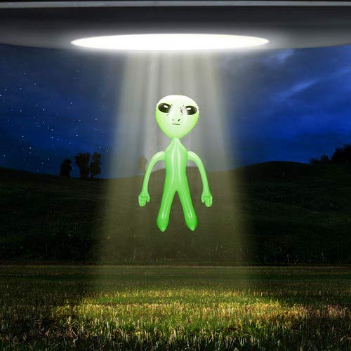 Relaxdays Alien Muñeco Hinchable, PVC, Verde, 61 X 35 X 14 ...