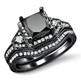 2.0ct Black Princess Cut Diamond Engagement Ring Bridal Set 14k Black Gold Rhodium Plating Over White Gold