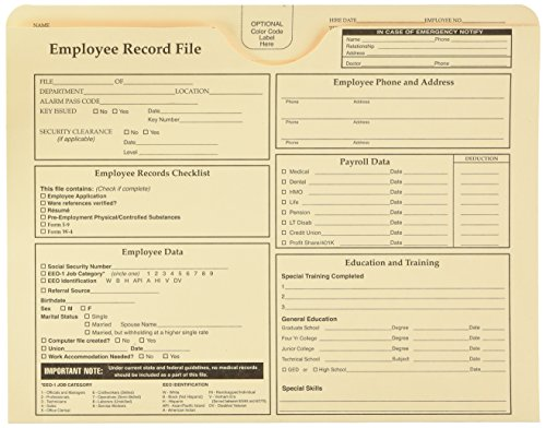 Quality Park Employee Record Folder, Top Tab, Letter, Manila, Pack of 20 (69998)