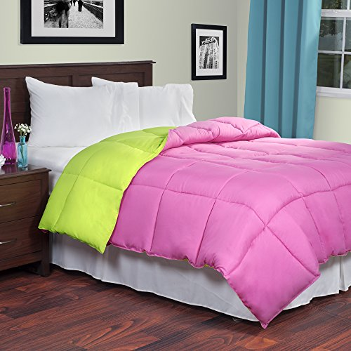 Lavish Home Reversible Down Alternative Comforter, Twin, Pink/Lime