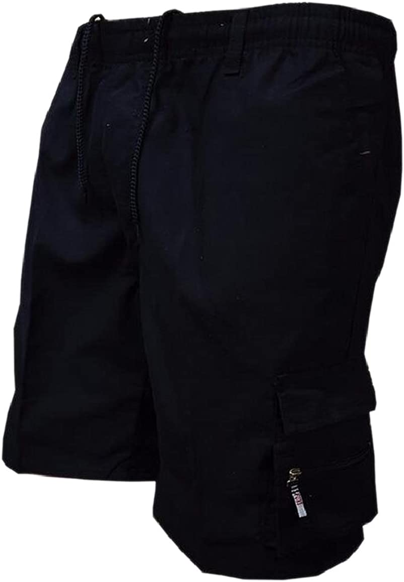 RRINSINS Men Casual Cargo Shorts Elastic Waist Plain Combat Shorts with Pockets