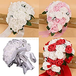ShineBear Wedding Bouquet Drop Cascade Waterful Rose Flower Crystal Rhinestone Bride Bridesmaid Hand Holding Flower 76