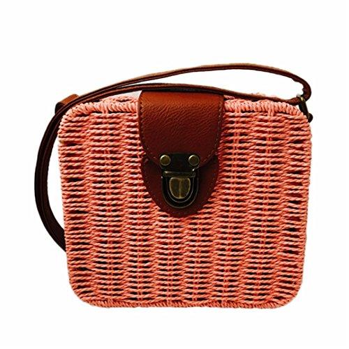 Bolso Bag Crossbody Cuadrada Mimbre De Sac Bolsa De Weave Bag Duraderos Bolsos RatáN pink De Playa DiseñAdor Paille Shoulder Mujeres Forma Pink TX6xHq