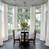 ChadMade Indoor Outdoor Solid Sheer Curtain Pinch Pleat Beige 120'' W X 96'' L Wide Opulent Voile Drapes (1 Panel)