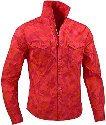 VIOLA ヴィオラ ビオラ シャツ 迷彩柄 ダイヤ柄 ロゴ スキッパー 長袖 メンズ レッド赤 01300
