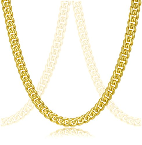Gold Handmade Link Chain (Luxury 18k Gold Plated Cuban Link Chain Necklace For Men + Gift Case)