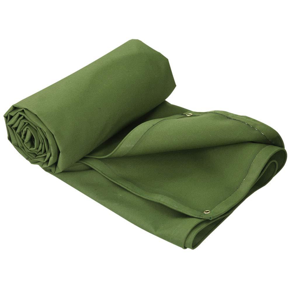 トラック防雨布|屋外の日よけ布|両面防水キャンバス - グリーン 4X6M  B07Q43Y15B