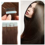 "SHOWJARLLY 16"" Remy Tape in Hair Extensions Human Hair 20Pcs/Set #2 Dark Brown Seamless Tape in Skin Weft Human Hair Extensions 30g"