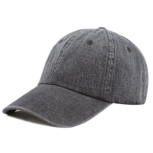 Ladies Low Profile Cap - THE HAT DEPOT 300N Washed Cotton Low Profile Denim Baseball Cap (Black)