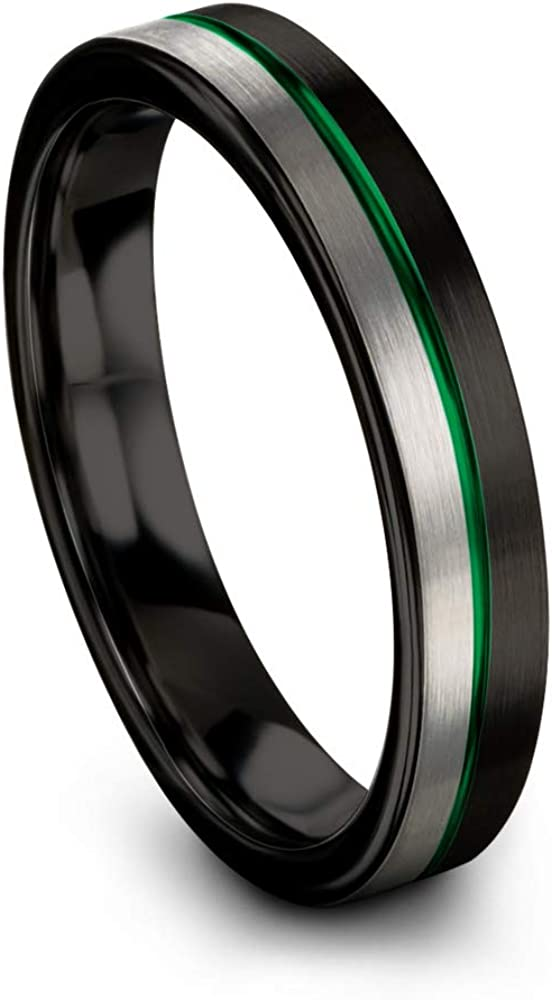 Chroma Color Collection Tungsten Carbide Wedding Band Ring 4mm for Men Women Green Red Blue Purple Black Copper Fuchsia Teal Center Line Flat Cut Half Brushed Polished