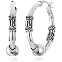 Amazon Collection Sterling Silver Balinese Beaded Hoop Earrings (29mm)