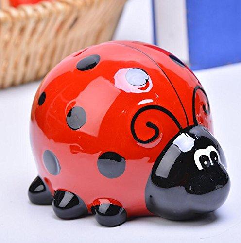 Tirelire cochon en c/éramique faite /à la main pour enfant Rouge