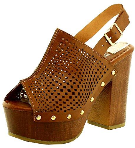 Refresh Footwear Women's Peep Toe Slingback Clog Platform Sandal,8 B(M) US,Tan