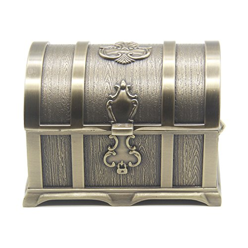 Adult Treasure Chest Pirate - AVESON Rectangle Vintage Metal Treasure Chest Trinket Jewelry Box Gift Box Ring Case for Girls Ladies Women, Large, Bronze