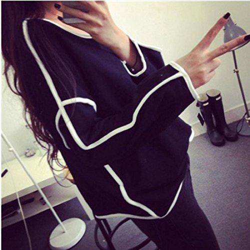 Tongshi Nueva mujeres sueltan Geometría Pullover Camisa de manga larga Top Camisas Blusa Negro