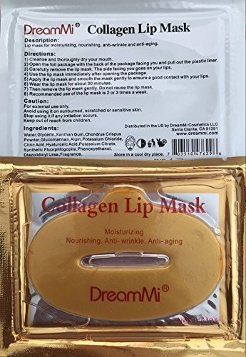 DreamMi 50 Pieces (Comes in 5 Boxes) Gold Bio Collagen Gel Lip Pad Mask Patch Sheet, Moisturizing, Nourishing, Anti Fine Line, Anti Wrinkle and Anti Aging, By DreamMi️ by DreamMi (Image #2)
