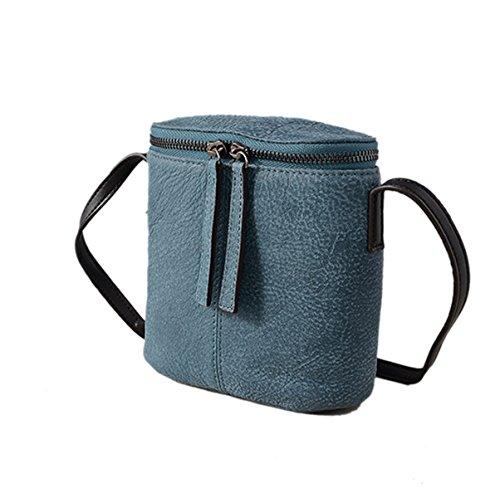Mujer Retro PU nuevo Estilo Moda Mini Pequeña Bolsa Bolsa De Cubo Práctica Bolsa De Hombro único Blue