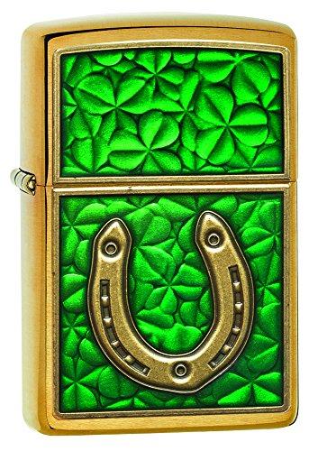 Zippo Brushed Brass - Zippo Horseshoe Clovers Brushed Brass Pocket Lighter